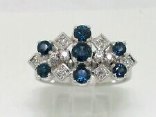 Juwelen Saphir Ring 585 Weißgold 14Kt Gold 7 blaue Saphire   10 Diamanten