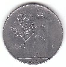 1956 ITALIA 100 LIRE MONETA IN ACCIAIO INOX-Minerva in piedi, azienda OLIVO