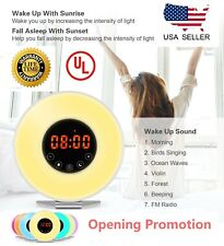 Wake Up Light Alarm Clock Digital LED 6 Color Switch Radio Sunrise Natural 3rd e