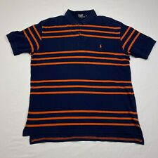 New listing Ralph Lauren Polo Shirt Mens XL Navy Blue Orange Stripes Orange Pony Rugby A3