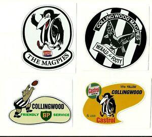 4 x COLLINGWOOD MAGPIES promo Vinyl Decal Sticker VINTAGE RETRO VFL AFL FOOTBALL