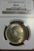 TONED 1918 MS 65 Great Britain 1/2 Crown NGC Certified Graded Slab OCE 1277