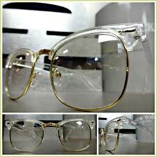 Men or Women VINTAGE RETRO Style Clear Lens EYE GLASSES Transparent & Gold Frame