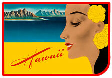 Car Window Bumper Sticker - Hawaiian Art Decal - Vintage Luggage Decal