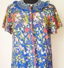 LADIES VINTAGE DRESSING GOWN ROBE HIPPY 1970 BLUE FLORAL SIZE APPROX  12
