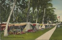 Vintage Postcard  1940's A TRAILER CAMP DOWN FLORIDA WAY Airstream Campers