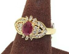 14k Yellow Gold Natural Diamond Ruby Ring Size 6.75