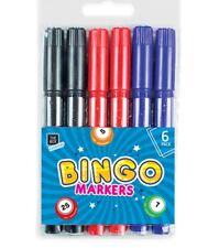 48 Bingo Markers Dabbers Pens Coloured Set Black Green Felt Red Blue Tickets