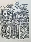 abstract folk art drawing by michael bass singed 11 x 14'' in frame
