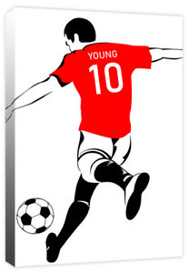 Personalised Footballer Boys Name Sport Football Shirt Canvas Art Print Picture