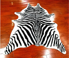 7.9'x5.6' Zebra Cowhide Area Rug Tricolor Cowskin Faux Cow Hide Leather Carpet