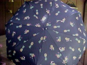 Vera Bradley Umbrella Toucan Party 23774-Q60 Automatic Large Navy Pineapples New