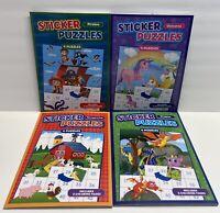 4 Sticker Puzzles Pirates, Dragons Unicorns & Barnyard Fun! Kids Puzzle Books
