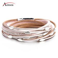 Hot Women Bohemian Crystal Multi-layer Leather Bangle Wrap Bracelet Jewelry Gift