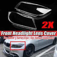 Paar L+R Klar Scheinwerfer Abdeckung Xenon Scheinwerferglas für BMW 3er E90 E91