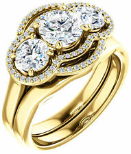 3 Stone Round Diamond Engagement Wedding Ring 14k Yellow Gold 1.88 tcw