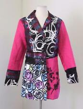 Cute Pink Floral Patchwork Tapestry Jacket Size S Coat Artsy Unique Black Mesh