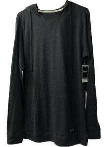 Ezekiel Mens Sz L Gavin Knit Pullover Hoodie Gray Black Stripe Long Sleeve Shirt