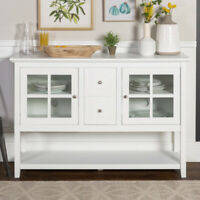 SIDEBOARD CONSOLE TABLE TV STAND Wood Tempered Glass Cabinet White