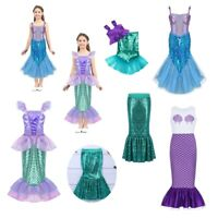 Girl Shiny Mermaid Costume Fancy Maxi Skirt Dress Party Cosplay Halloween Outfit