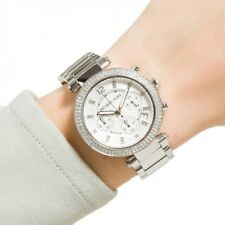 New Michael Kors Women's Parker MK5353 Silver Swarovski Chrono Women's Watch