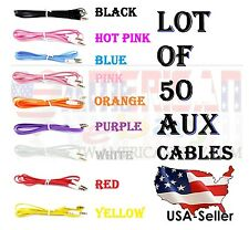 LOT OF 50 AUX CABLES 3.5mm AUXILIARY CORD Male Stereo Audio Cable iPod MP3 CAR