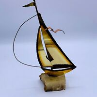 Vintage Brass Sailboat Sculpture Signed Mid Century Modern Natural Stone Base