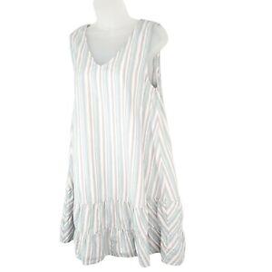 Fresh Produce Stripe Melody Flamingo Dress Ruffled Size Medium