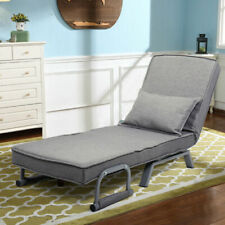 Gray Linen Convertible Sofa Bed Folding Arm Chair Sleeper Full Padded