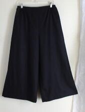 Eskandar -Sz 2 BLACK Cashmere Wool Flannel Flared Culotte Pants