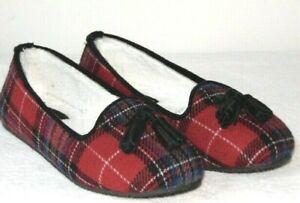 Women's Clarks Faolan Elite Plaid Slippers  Red-Plaid Size: US 6