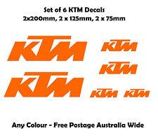 KTM Moto Stickers Set of 6 Motorbike Decals New Outdoor Grade Vinyl Any Colour