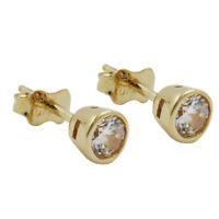 Paar Ohrstecker Stecker 4.5mm Zirkonia weiß 375 Gold Gelbgold, Ohrschmuck, Damen