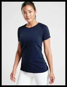 Athleta NWT Women's Foothills Tee Size Small Color Navy