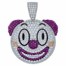 Round Cut multi Color 14K White Gold Over .925 Silver Creepy Clown Joker Pendant
