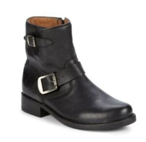 FRYE Vicky Engineer Buckle Black Ankle Boots Women Size 9 New in Box