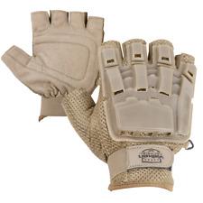 New Valken V-Tac Tactical Airsoft Half Finger Plastic Padded Gloves Xs/S Tan