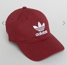 NEW adidas Originals Logo Trefoil Baseball Cap Dad Hat Red Adjustable One Size