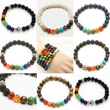 Vintage Mens Women's 7 Stone Chakra Healing Reiki Prayer Bead Bracelet Jewelry F