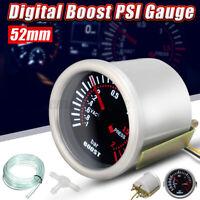 2'' 52mm 12V LED Blanc Manomètre Jauge Boost Turbo Cadran Numérique Digital