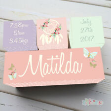 Wooden Birth Block Name Set Personalised Nursery Baby Girl Dreamcatcher