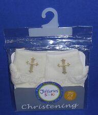 Christening Socks Pearl White Embroidered Cross Lace Trim Girl Infant Baptism #2