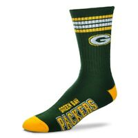 Green Bay Packers For Bare Feet NFL 4-Stripe Deuce Crew Socks SZ L