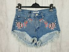 Glamorous @ ASOS Blue Denim Embroidered Floral Shorts Hot Pants Size S UK 10