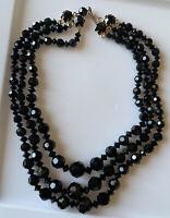 "Vintage Art Deco Era Onyx Faceted Round Bead Choker Necklace 12"""