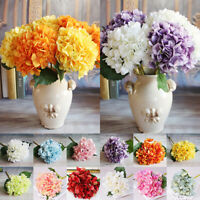 6Heads Artificial Silk Fake Flowers Wedding Bouquet Bridal Hydrangea Party Decor