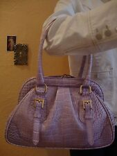FRANCESCO ROGANI  RARE EXOTIC Purple Genuine Leather Crocodile Satchel Handbag