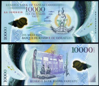 VANUATU 10000 VATU 2010 POLYMER AA PREFIX P 16 UNC