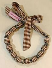 Pea Pods.org Fabric Houndstooth Beaded Necklace-Brown