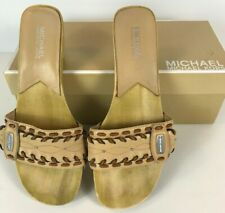 Michael Kors Palm Beach Slide Natural Color, Leather Uppers, Leather Braid